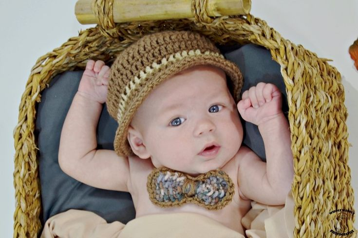 Image of Baby hand Crochet Derby Hat with Tweed Crocheted Bow Neck Tie
