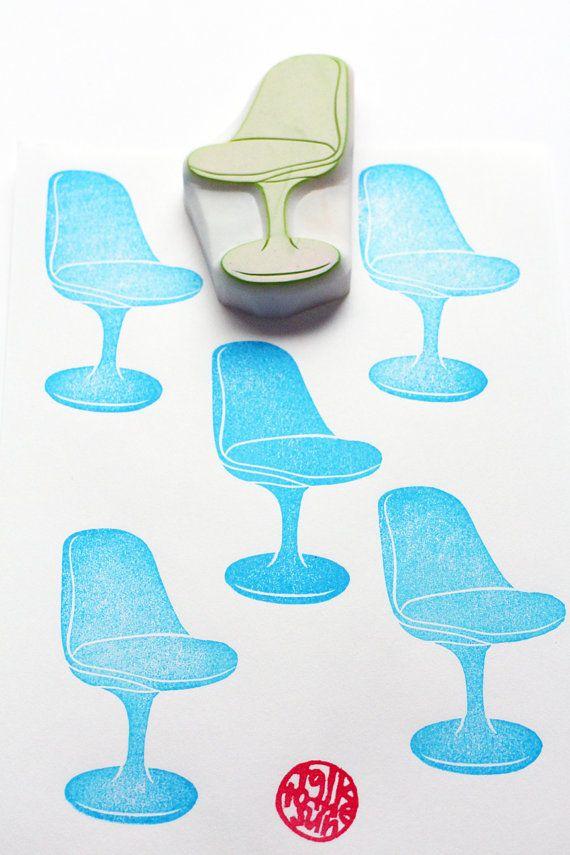 Tulip eetkamerstoel stempel. halverwege de eeuw design stoel stempel. meubels hand gesneden rubber stempel. DIY cadeau label verjaardagskaarten. Geschenkverpakking