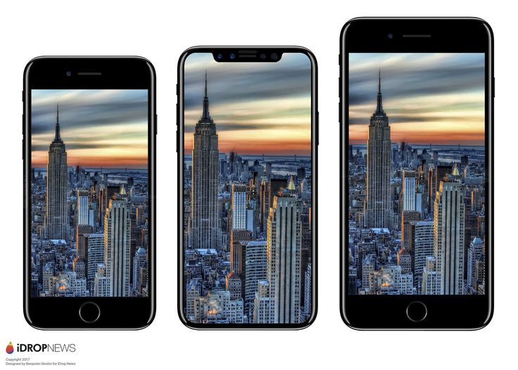 Apple's new iPhone is expected to look like the middle model (iPhone 7 - left, iPhone 7 Plus - right), Image credit: iDrop News