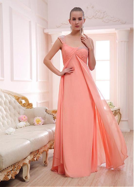 Gasa elegante de un solo hombro escote una línea de vestido de fiesta con Listones y diamantes de imitación