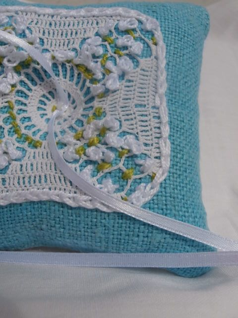 Turquoise wedding ring pillow