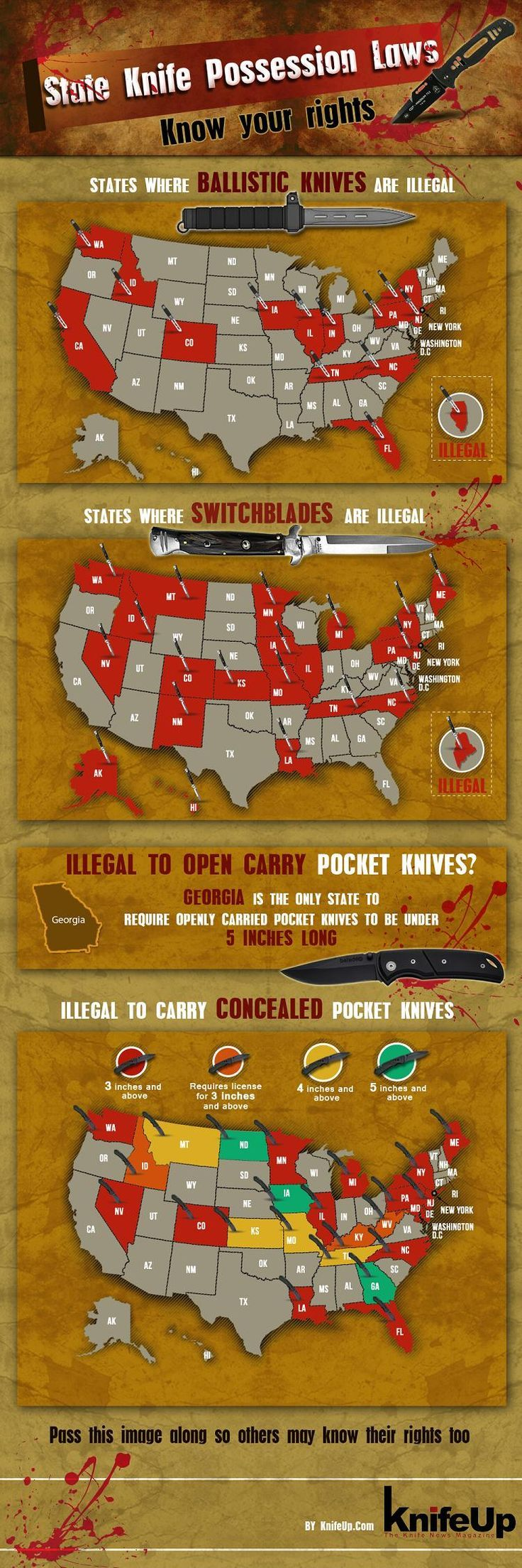 The state knife possession laws have never been easy to find, until this KnivesUp.com infographic showed up.