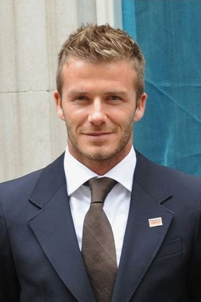 Short spiked and formal haircut, David Beckham