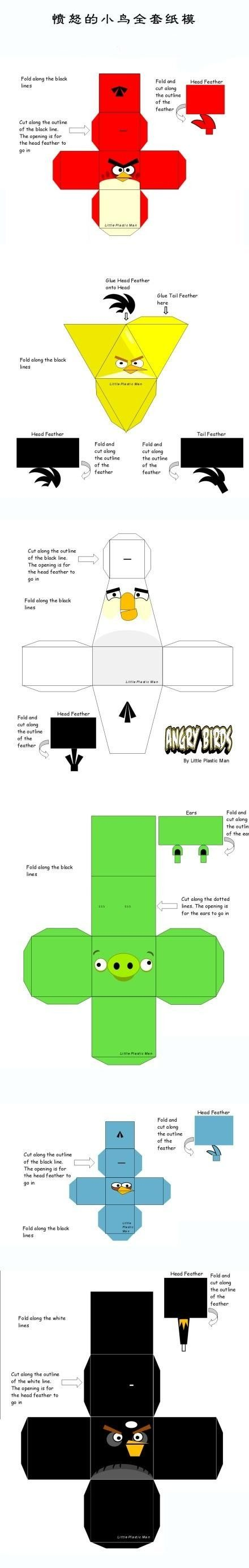 Angry birds gift box templates