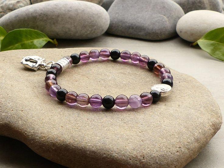 Bracelet de protection en obsidienne noire et améthyste, bracelet en obsidienne noire, bijou étoile, bracelet améthyste, bracelet obsidienne : Bracelet par lapassiondisabelle