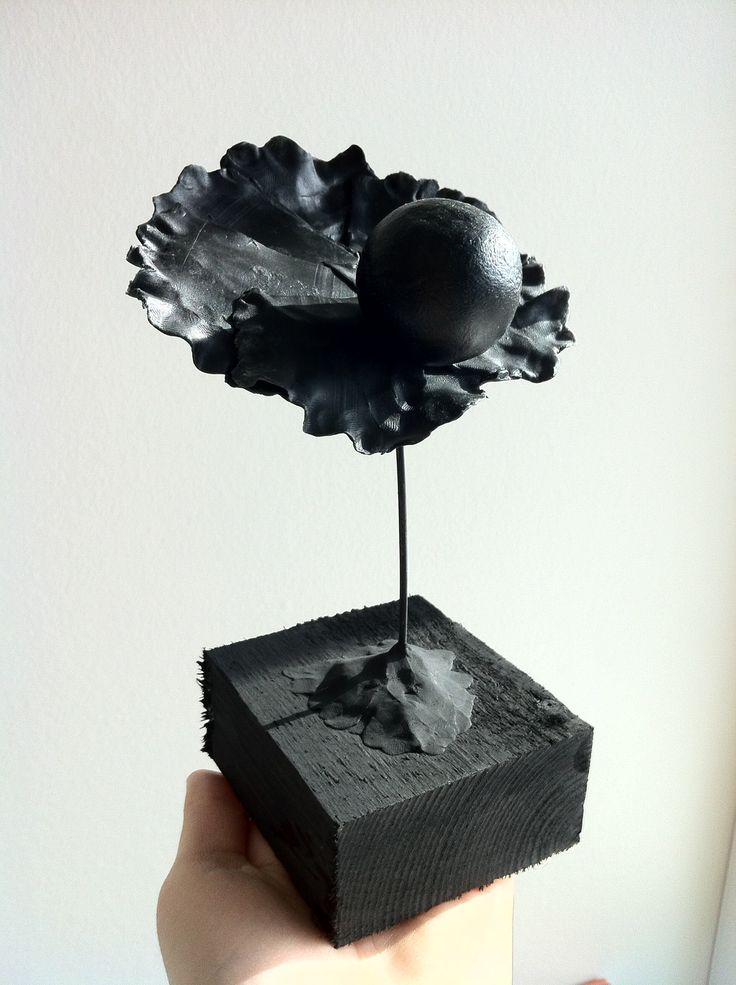 Black oister sculpture - cheese wax