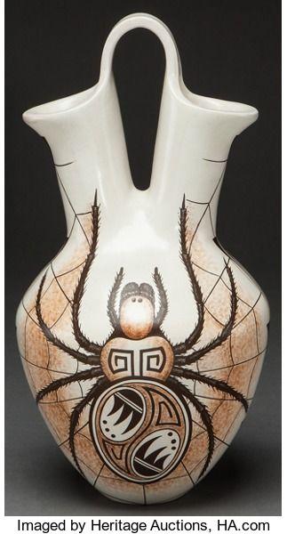 American Indian Art:Pottery, A HOPI POLYCHROME WEDDING VASE. ...