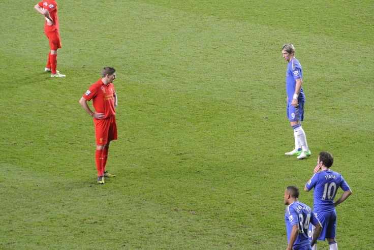 @Gina Lunt FC Captain Steven Gerrard looks with disdain at Fernando Torres during the match with Chelsea at Stamford Bridge #LFC