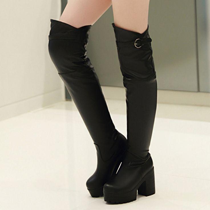 Японских сладостей стиль удобные круглым носком за колено высокие сапоги slip on пряжки ремня платформа высокий каблук женские сапоги для верховой езды
