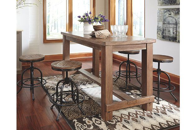 Light Brown Pinnadel Counter Height Dining Room Table View
