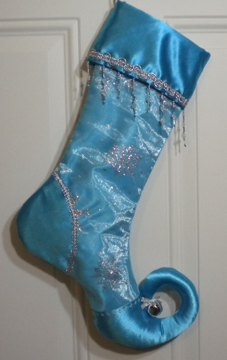 Beaded Christmas Stocking with Glittery Snowflakes and Curly Elf Toe by FancySchmancyGifts on Etsy https://www.etsy.com/listing/247362128/beaded-christmas-stocking-with-glittery