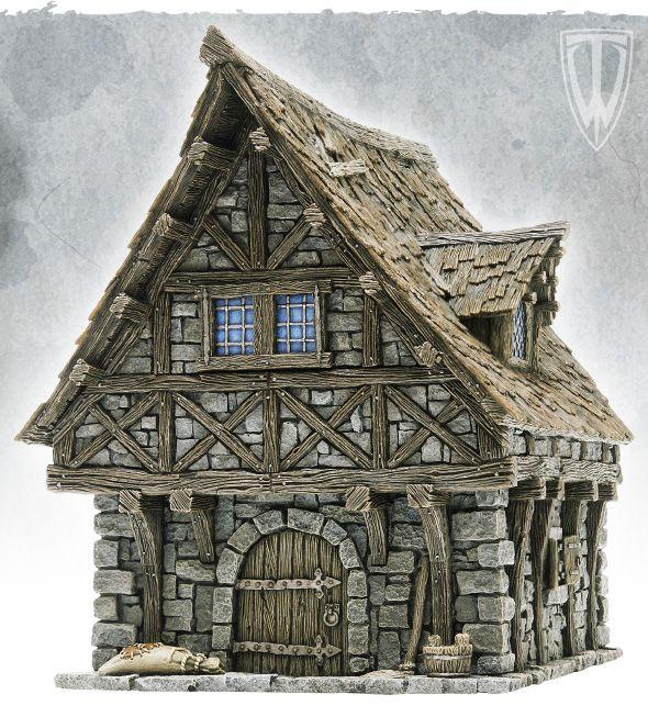 Une jolie maison médiévale en 28mm est à vendre puis à peindre chez Tabletop World . Pour 32€, le chien est vendu avec. Il y a aussi un cott...