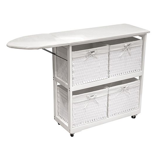 Replace your cumbersome traditional ironing board with a convenient cart that rolls anywhere it's needed. Ironing board folds down when not in use. Stylish enough to leave out in any room. Four lined woven baskets make it easy to organize laundry and accessories. Rolls easily on 4 caster wheels. Attractive white fabric lines the storage baskets and the durable foam padded ironing board.
