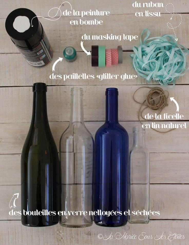 1000 id es sur le th me centres de tables de bouteilles. Black Bedroom Furniture Sets. Home Design Ideas