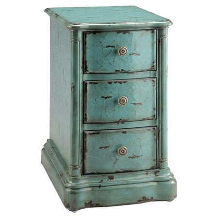 Weathered three-drawer end table with a hand-painted turquoise crackle finish.Product: End table    Construction Material:...