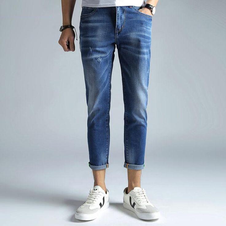 29.80$  Watch here - http://alir35.shopchina.info/go.php?t=32795496670 - Korean Mens Jeans High Elastic Copped Skinny Blue Denim Men Pants Slim Pockets Desinger Ankle Length Balmai Jeans Homme Cowboys   #buyonlinewebsite