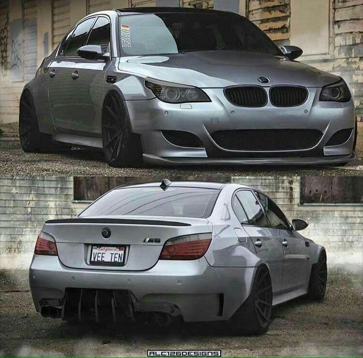 BMW E60 M5 grey wide slammed