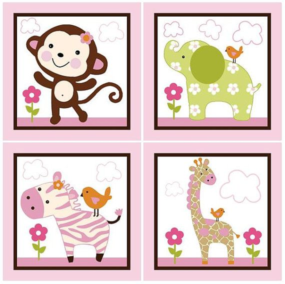 Set of 4 (Jungle Girl Animals) 6.5 x 6.5 inch Wood Plaques So Cute