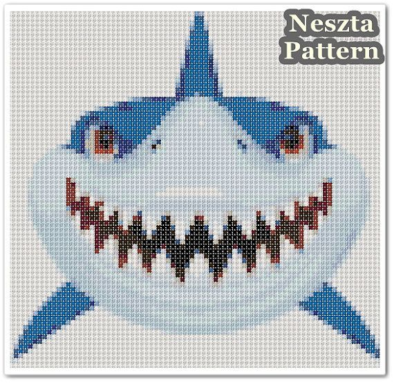 Hey, I found this really awesome Etsy listing at https://www.etsy.com/listing/503659601/shark-cross-stitch-pattern-shark-x