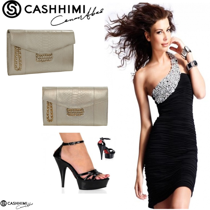 Cashhimi Silver BEVERLY Python Clutch