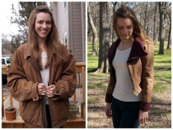 A killer Leather Jacket Refashion by Design by Lindsay #sewing #upcycle #refashion