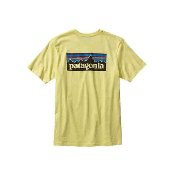 Men's Patagonia P-6 Logo Cotton T-Shirt - Lite Blazing Yellow T-Shirts ($35) ❤ liked on Polyvore featuring men's fashion, men's clothing, men's shirts, men's t-shirts, tops, shirts, mens slim t shirts, mens cotton t shirts, mens t shirts and mens yellow shirt