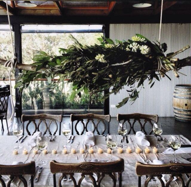Hanging floral arrangements at Yarra Ranges Estate. Winery Wedding | Yarra Valley Wedding | Dandenong Ranges Wedding