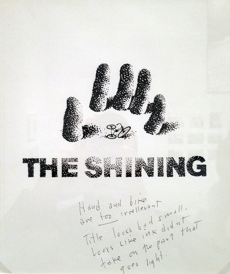 Saul Bass' rejected poster for The Shining, with notes from Stanley Kubrick