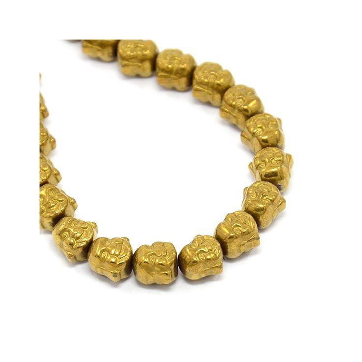Perle en Hematite Tête de Bouddha 8x8x7 mm Dorado x1 - Perles & Co