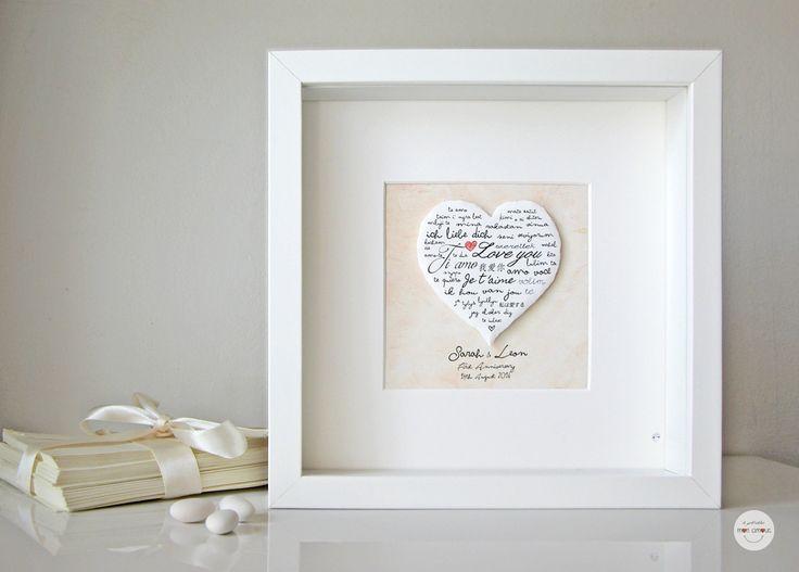 Personalizzato Primo Anniversario di Matrimonio, Nozze di Carta originale regalo per la coppia personalizzato con i vostri nomi e la data del vostro giorno indimenticabile! Un'e - 19066588