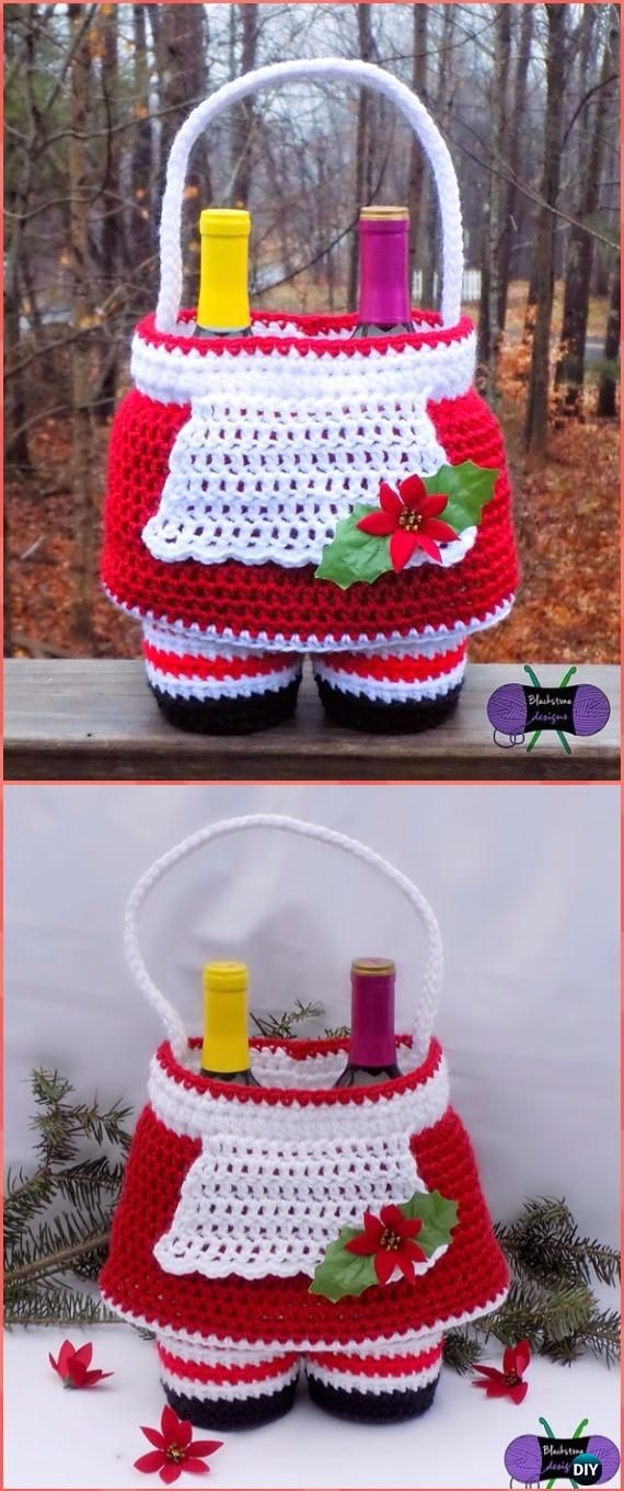 Crochet Mrs. Claus Gift Basket Paid Pattern - Crochet Wine Bottle Cozy Bag & Sack Free Patterns