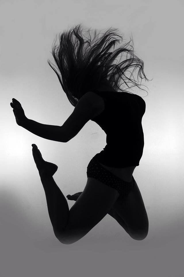 Silhouette self portrait, body, hair, jump, black and white, hair flick, arm, legs