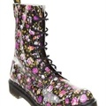 Dr Martens - Print 10 Eye Boot - Flat Boots (Black Patent PU Rose)  Available at www.shoesonline.com.au