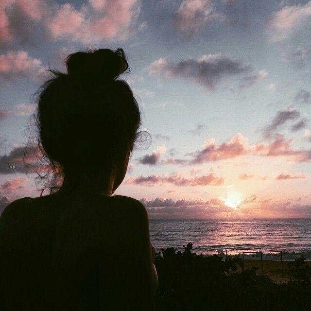 Sunset sunrise silhouette beach solo back black