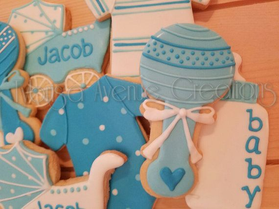 12 Baby Boy Sugar Cookies Baby Boy Shower by TybrisaAveCreations