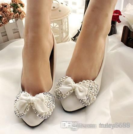 moda bella esercitazione completa mano bowknot sposa bianco donne scarpe da sposa damigella d'onore delle