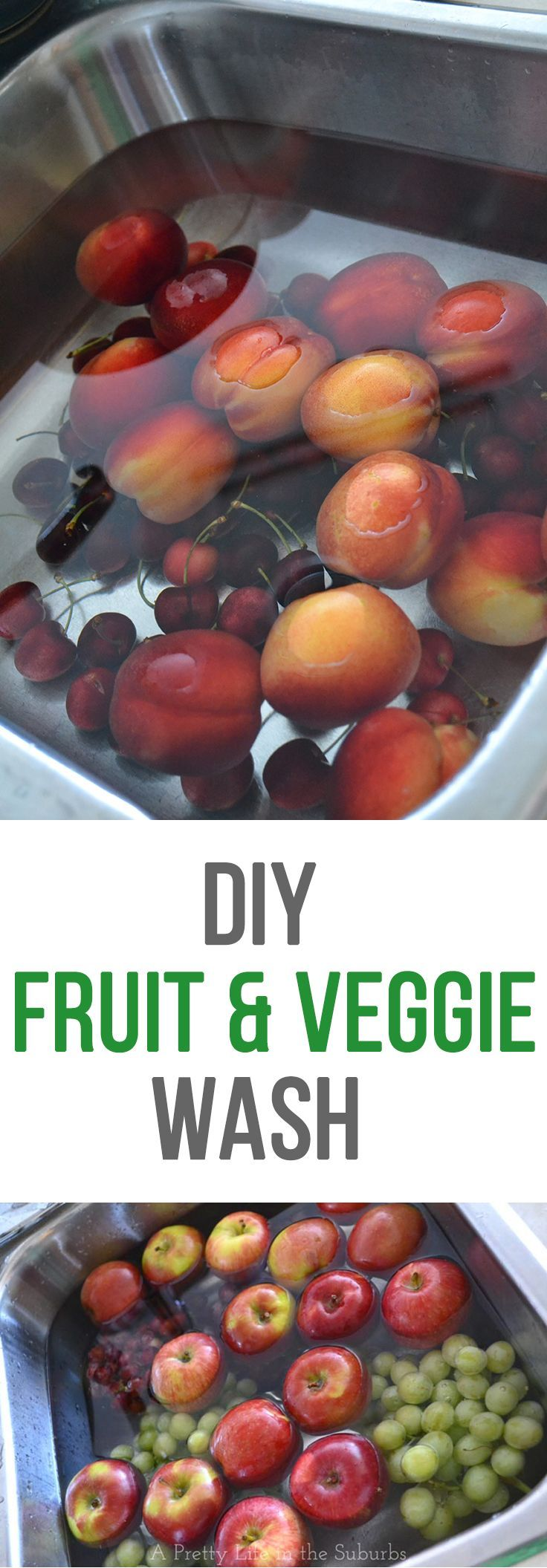 DIY Fruit & Veggie Wash - Here is a simple way to naturally (and inexpensively) clean your fruit & vegetables.