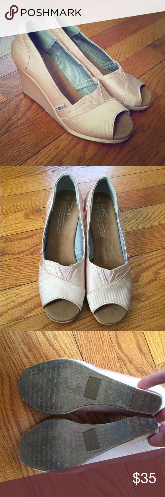 Pale Pink Toms Wedges Pale pink peep toe wedges by Toms. Clean and ready to wear. TOMS Shoes Wedges