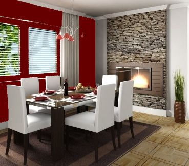 red dining room-plus I am loving the stone mixed with all the crisp, clean lines