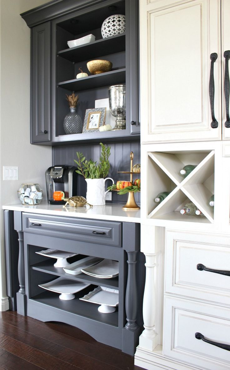 White serve ware from Homegoods looks beautiful against the grey open shelves in... - http://centophobe.com/white-serve-ware-from-homegoods-looks-beautiful-against-the-grey-open-shelves-in/ -