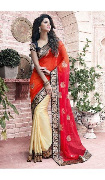 Appealing #Party Wear #Orange,Cream #Saree