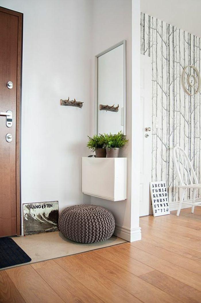 deco-hall-entree-avec-petit-pouff-couleur-prune-et-deux-sceaux-décoratifs-avec-des-plantes-vertes