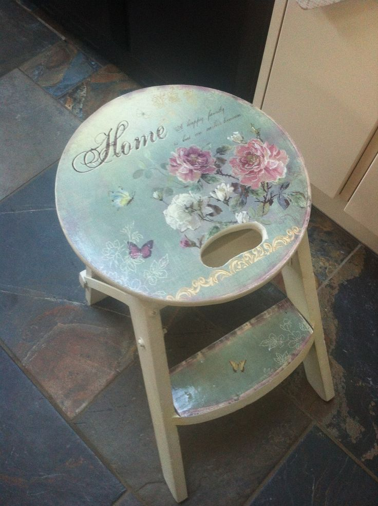 wooden stool french style shabby vintage chic kitchen seat ...