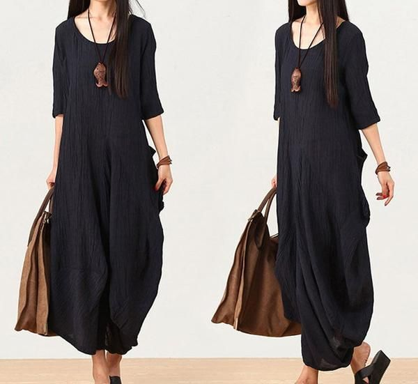 women linen maxi dress short sleeve dress Irregular Loose Fitting dresses – Buykud