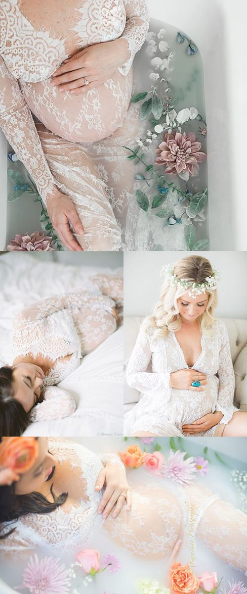 Popular Maternity Lace Dress for Photoshoot    Maternity Photoshoot ideas Romantic milk bath, baby bump, flowers
