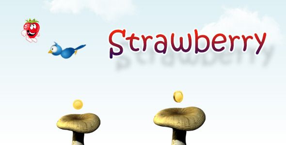 Strawberry for Adobe AIR . Jump on mushrooms to get coins. Also you can jump on the bird to kill it. Highscore and sound level automatically saved in Cookies of Local Shared Objects. There are two ways of control: buttons and accelerometer. You can also change the sensitivity of the accelerometer. The game is adapted for all