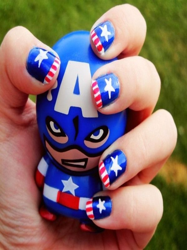 I am showcasing 12 awesome Captain America nail art designs, ideas, trends  & stickers of Make America's flag with stunning captain America and dazzle  your - 49 Best Nails: Superheroes Images On Pinterest Superhero Nails