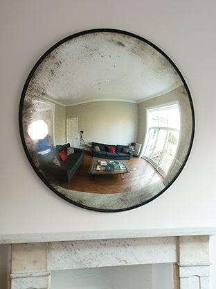 Antique glass convex mirror
