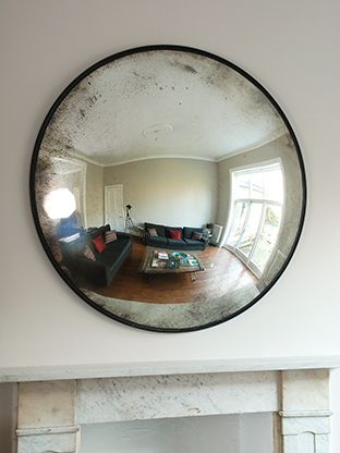 Antique glass convex mirror