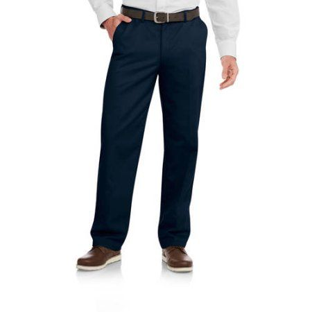 $15.56 Walmart (SIZE: 34X34 - COLOR: DARK NAVY) George Men's Wrinkle Resistant Flat Front 100% Cotton Twill Pant with Scotchgard